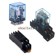 10A AC 220V Coil Power Relay DPDT LY2NJ HH62P HHC68A-2Z With Socket Base New