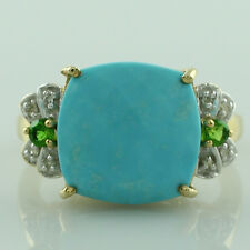 Solid Gold Turquoise & Diamond Right Hand Fancy 9.24 ctw Ring GSR1138