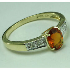 Solid Gold Madeira Citrine & Diamond Solitaire with Accents GSR425