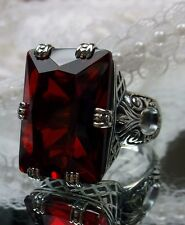 30ct*Red Ruby* Art Deco 1930s Sterling Silver Filigree Ring Size {Made To Order}