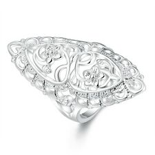 Silver Plated Hollow Out Flower Finger Joint Knuckle Ring Vintage Women Jewelry