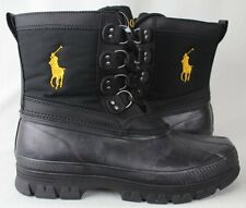 POLO Ralph Lauren Crestwick Rubber Boots Black Gold Big Pony NWT