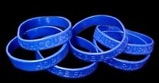 Dark Blue IMPERFECT Bracelets 6 Piece Lot Silicone Wristband Cancer Cause New