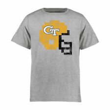 Georgia Tech Yellow Jackets Youth Ash 8-Bit Football Helmet T-Shirt - College