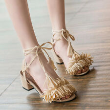 Womens Ladies Chunky Block Heels Open Toe Strappy Tassel Sandals Pumps Shoes