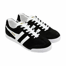 Gola Harrier Mens Black WhiteSuede Lace Up Trainers Shoes