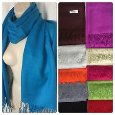 "*New 100% Pashmina Wrap Fringe Scarf Solid Color Shawl Scarves NIP 72"" x 28"""