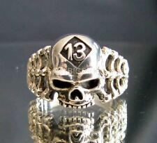 LUCKY NUMBER PATCH SILVER BIKER RING SKULL & BONES 13 RIPPER CLUB MC ANY SIZE