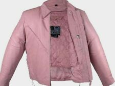 Women's New Pink Top Grade Leather Motorcycle Biker Jacket Z/O lining  Sizes
