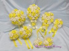 WEDDING FLOWERS BRIDE BRIDESMAID F/GIRL BOUQUET POSY WAND CORSAGE PACKAGE YELLOW