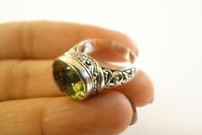Oval Green Amethyst Prasiolite Balinese Sterling Silver Ring Size 6, 7, 8, 9