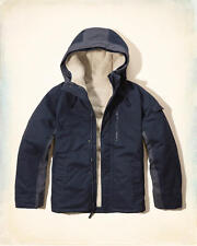 NWT Hollister by Abercrombie Mens Three-in-One Twill Jacket Sherpa Fur Cotton M
