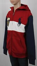 POLO Ralph Lauren Red White Navy Blue Striped Big Pony Hoodie NWT $60