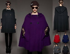 Women wool blend Cape Hoodie COAT yj089 PLUS 1X2X3X4X5X6X7X8X9X10X(size16-52