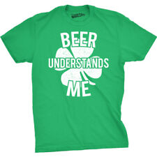 Mens Beer Understands Me Funny Lucky Irish Clover St. Patrick's Day T shirt
