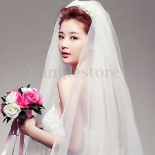 2T Bridal White Ivory Wedding Veil Elbow Satin Cut Edge Length With Comb Veils