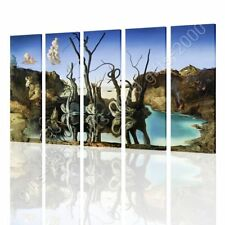 CANVAS (Rolled) Swans Reflecting Elephants Salvador Dali 5 Panels Oil Paint