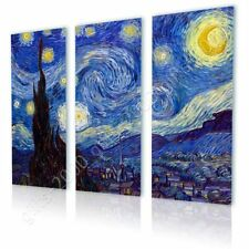 Alonline Art - CANVAS (Rolled) Starry Night Vincent Van Gogh 3 Panels Artwork
