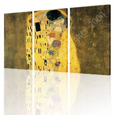 CANVAS (Rolled) The Kiss Gustav Klimt 3 Panels Canvas For Bedroom Wall Decor