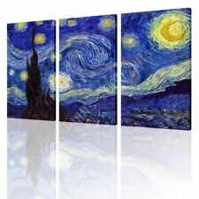 CANVAS (Rolled) Starry Night Vincent Van Gogh 3 Panels Oil Paintings Prints