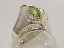 Made & Hallmarked in England Solid Sterling Silver Natural Peridot Band Ring