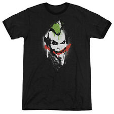 Arkham City Batman Spraypaintile Mens Adult Heather Ringer Shirt Black