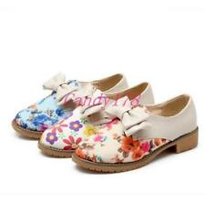 Womens  Mary Jane floral printed Lolita low heel flats slip onbowknot shoes Size