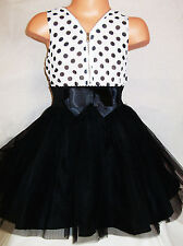 GIRLS WHITE BLACK POLKA DOT CHIFFON TULLE BOW TRIM SPECIAL OCCASION PARTY DRESS