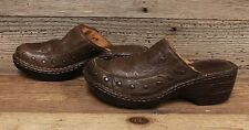 Womens Leather Born Studded Brown Backless Slip On Clogs/Shoes Sz 8