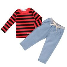 New Kids Girls' Wear Two Pieces Outfits Set Long Sleeve Striped Hoodie B20E