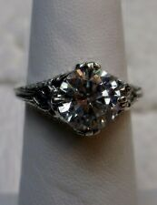 3ct White Gemstone Sterling Silver Victorian Filigree Ring Size: {Made To Order}