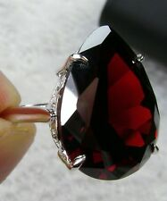 24ct Tear Drop *Garnet* Solid Sterling Silver Filigree Ring Size {Made To Order}
