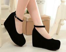 Womens Mary Jane Lolita High Heel Wedge Platform Faux Suede Buckle Pumps Shoes