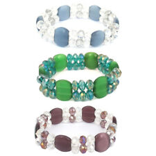 Faceted Faux Crystal Opal Beads Decor Elastic Wrist Bangle Bracelet for Lady