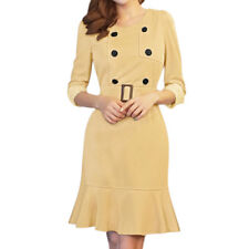 Women 3/4 Sleeves Flouncing Hem Lace Panel Trench Dress w Belt