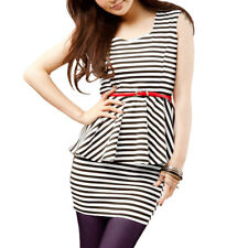 Woman Sleeveless Bar Striped Flouncing Tiered Shirt