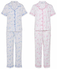 Pyjamas Set Womens Floral Slenderella PJs Button Up Short Sleeve Top & Bottoms