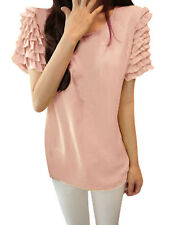 Ladies Scoop Neck Tiered Ruffled Short Sleeve Blouse