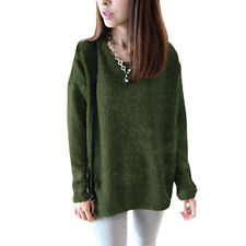 Pullover Round Neck Long Dolman Sleeve Knitted Shirt for Lady