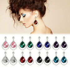 Women Crystal Rhinestone Pierced Dangle Drop Hook Earring Ear Stud