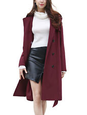 Allegra K Women Double Breasted Long Sleeves Split Lapel Belted Trench Coat