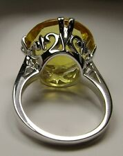 10ct Round Cut*Yellow Citrine* Solid Sterling Silver Filigree Ring Size Any/MTO