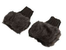 Ladies Winter Faux Fur Ribbed Knitted Hand Palm Warm Fingerless Gloves Pair