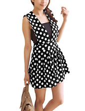 Women Dots Pattern Deep V Neck Pleated Detail Tunic Tank Top