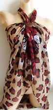 LEOPARD ROSE LARGE BEACH SARONG PAREO WRAP 4 COLOURS FREE COCONUT SHELL BUCKLE