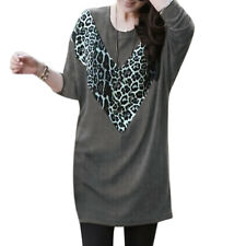 Women Round Neck Long Batwing Sleeves Leopard Print V-Shaped Panel Tunic Dress