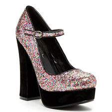 Glitter Gold Pink Round toe Mary Jane Chunky Heel pumps Women's shoes Artie-5
