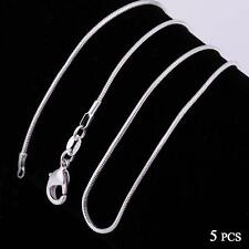 Fashion 5pcs 925 Sterling Solid Silver Necklace 1mm Snake Chain 16-30inch MT