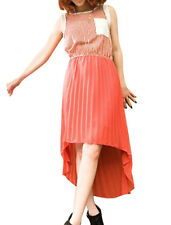 Ladies Scoop Neck Sleeveless Stripes Upper Pleated Casual Dress