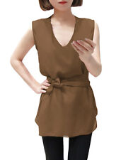 Lady Deep V Neck Tiered Cutting Blouse w Self-Tie Waist Strap
